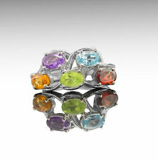 925 Sterling Silver Ring with Citrine Amethyst Peridot Blue Topaz Rhodolite eBay