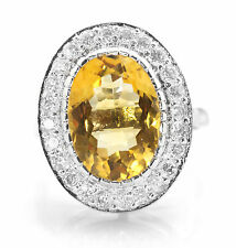 925 Sterling Silver Ring with Oval Cut Natural Yellow Citrine Natural Gemstone.