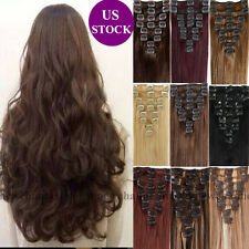 8PCS Full Head Real Clip in Human Hair Extensions Remy Hair Brown Any Color B383