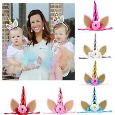 Kids Baby Sequin Flower Unicorn Ears Horn Headbands Hair Band Party Decorations