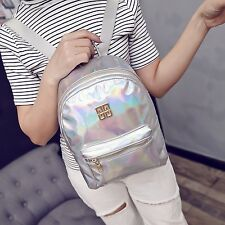 Holographic Backpack Women Girl School Bookbag Shoulder Leather Holo Bag Fashion