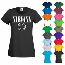 T SHIRT NIRVANA Dave Grohl Kurt Cobain Rock Grunge Nineties 90s Band Womens Top