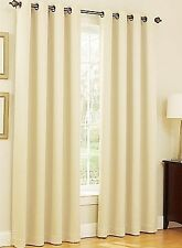 IVORY BEIGE Blackout Thermal Window Curtain Solid Grommet Lined Drape 2 Panel