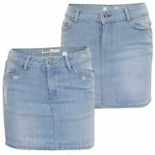 New Ladies Denim Short Mini Skirt Womens Summer Buttons Ripped Jeans