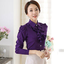 Lady Ruffle Shirt Long Sleeve Button School Work Office Elegant Slim Blouse Top