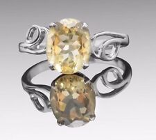 925 Sterling Silver Ring with Oval Cut Yellow Citrine Natural Gemstone Handmade.