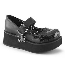 Demonia Sprite-05 Black Spider Web Platform Shoes - Gothic,Goth,Punk,Black,Platf