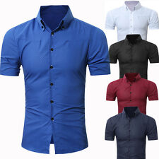 Mens Short Sleeve Shirts Casual Formal Slim Fit Shirt Top much size much color
