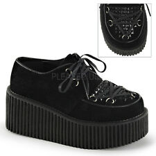 Demonia Creeper-216 Black Vegan Suede Platform Shoes - Gothic,Goth,Punk,Black,Bu