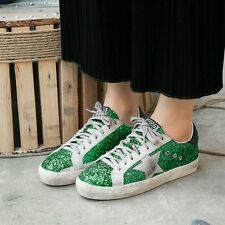 Womens Distress Round Toe Lace up Flats Sequins Fashion Sneakers Casual Shoes SZ