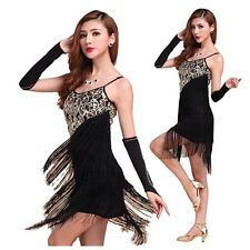 Latin Dance Dress Salsa Tango Cha cha Ballroom Dance Sequin Fringe Dress Costume