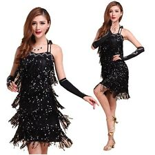 Latin Salsa Tango Rumba Cha Cha Ballroom Dance Sequins Tassel Club Dress Costume
