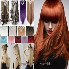 US Thick Clip in Hair Extensions 8 Pieces Full Head Long As Human Synthetic Hair