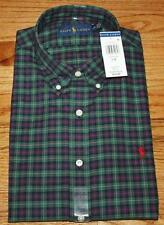 NEW NWT Polo Ralph Lauren Mens Buttondown Dress Shirt Green Plaid Pony Logo *W2