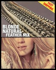 Natural Blonde Feather Hair Extensions 30 X-XXL Grizzly Pack for Blondes + Beads