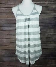 Three Dots Tank Top Gray Ivory Stripe Sleeveless Scoop Neck Soft Pleated NWT $86