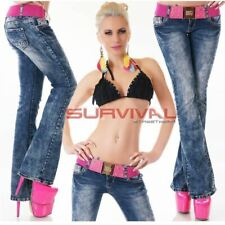 Womens NEW Blue Washed Bootcut Jeans FREE Belt Sexy Low Rise Size 6 8 10 12 14