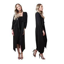 BLACK WOMENS MAXI MIDI LONG SLEEVE BELTED WATERFALL DUSTER JACKET WITH POCKETS