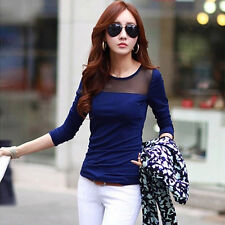 NEW Lady Lace Long Sleeve Blouse Lace Mesh Splice Shirt Slim Women Top Selling