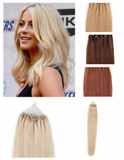 "16""20""  Loop Micro Ring Beads Tipped Real Remy Human Hair Extensions 50S 0.5g/s"