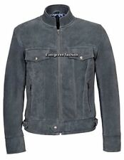 Men's 1345 GREY SUEDE Classic TRUCKER Denim Style Western REAL Leather Jacket