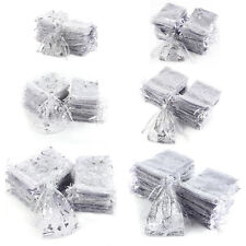 100 Sheer Organza Gift Bags Jewellery Pouches XMAS Wedding Party Silver 2 Design