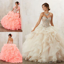 New Beaded Quinceanera Dress Pageant Prom Dresses Bridal Ball Gown Size Custom