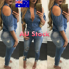 AU WOMEN'S LADIES OFF SHOULDER BARDOT BUTTON DOWN DENIM LOOK SHIRT BLOUSE TOP