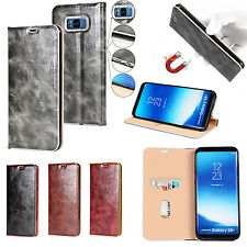 Retro Magnetic Flip Leather Case Card Cover For Samsung Galaxy S8+ Plus S7 edge
