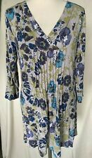 Adini Viscose/Lycra Tunic top crossover neck 3/4 sleeves front/back pintucks