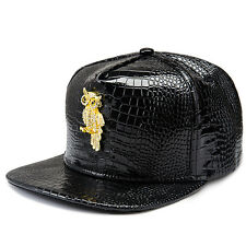 Men Women Hip Hop Owl Gold Red Black Leather Baseball Snapback Gorras Hat Cap
