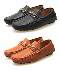Mens Black Brown Tan Faux Leather Designer Slip On Loafers Moccasins Shoes