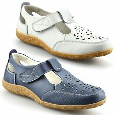 Ladies Womens Casual Flat Leather Wide Fit Comfort Walking Work Pumps Shoes Size