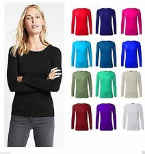 New Ladies Plain Stretchy Scoop Neck Long Sleeve Casual T-Shirt Top 8-26