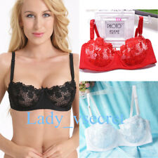 Lace Sheer Bra Women Plunge Bras Half Cup Underwired Lingerie 32-44 A B C D Cup