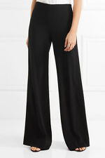 $348 NEW Diane von Furstenberg DVF Preston Stretch Crepe Wide Pants Black 2 4 14