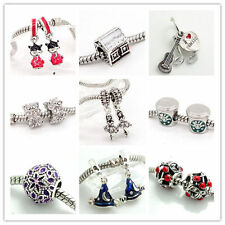European 2pcs silver Charm Beads Fit Necklace Bracelet Chain jewelry DIY
