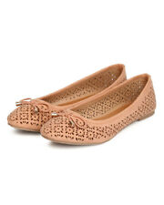New Women Qupid Seaside-01 Faux Suede Bow Tie Perforated Ballet Flat