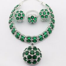 Perfect GREEN EMERALD  Set 925 Silver Necklace Pendant Earrings Ring bracelet