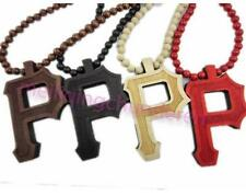 """1 Piece Hip-hop letter """"P"""" Pendant wood Ball Bead Chain Necklace Good Gifts"""