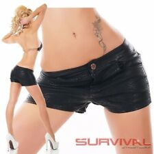 Womens NEW Hot Pants Black Faux Leather Shorts Sexy Wet Look Size 8 10 12 14