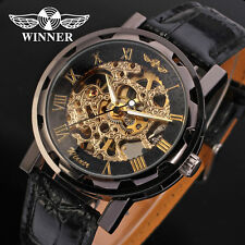 Fashion Men's Watch Hand-Wind Leather Automatic Mechanical Wristwatches Luxury