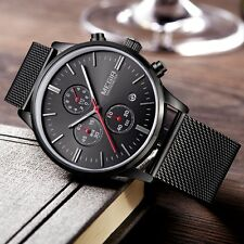 Men's Quartz Watch Stainless Mesh Strap Luxury Fashion Thin Stylish Wristwatches