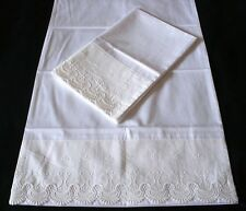 New Embroidered Lace PillowCases White 100% Cotton Standard King Pair  M9-1#