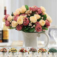 Lovely Artificial Silk Flowers Camellia Roses Bouquet Wedding Home Decoration