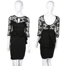 New Ladies Womens Dress Black Midi Bodycon Party Stretch Lace Celeb Long SA