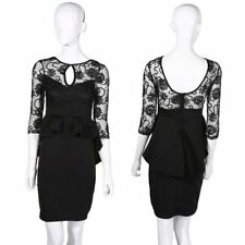 Quality Ladies Womens Dress Black Midi Bodycon Party Stretch Lace Celeb Long SA