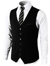 H2H Mens Formal Slim Fit Premium Business Dress Suit Button Down Vests BLACK US