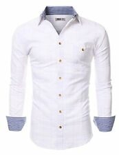 Doublju Mens Long Sleeve Slim Fit Plaid Collared Button Down Shirt WHITE M