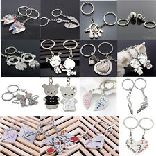 2PCS LOVE HEART SYMBOLS KEY CHAIN RING KEYRING KEYFOB LOVER COUPLES GIFT GLAMOUR